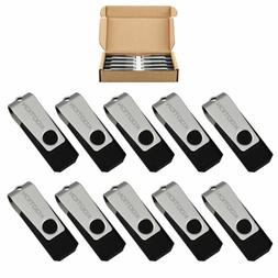 Kootion 10 Pack 16GB ​Black USB 2.0 Flash Drives Swivel An