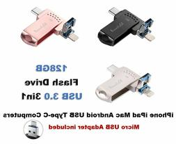 128GB 3 in 1 OTG Flash Drive USB 3.0 for iPhone, Android, US