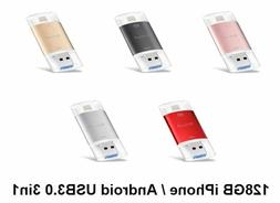 128GB OTG 3 in 1 USB 3.0 Flash Drive for iPhone, Android, PC
