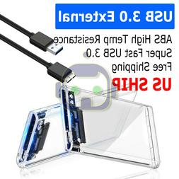 """2.5"""" Transparent 5Gbps USB3.0 to Sata3.0 HDD Case Tool Free"""