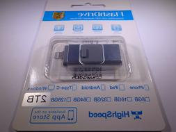 2TB 3 in 1 USB Flash Drive Memory Stick for iPhone IOS OTG A
