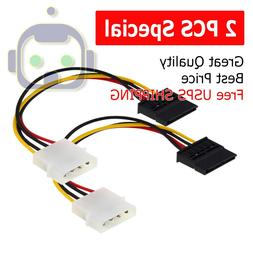 2X New IDE/Molex 4-Pin Male To Serial ATA SATA 15-Pin Female