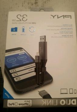 PNY 32GB USB 3.0OTG Flash Drive NIB New Duo Link Made for iP
