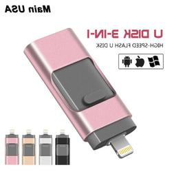 3in1 USB2.0 Flash Drive Lightning External Storage Memory St