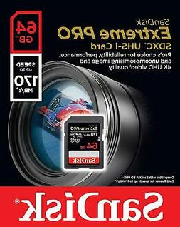 SanDisk 64GB Extreme PRO SD SDXC Card 170MB/s Class 10 UHS-1
