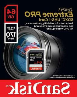 SanDisk 64GB Extreme Pro SDXC UHS-I Memory Card 170MB/s Clas