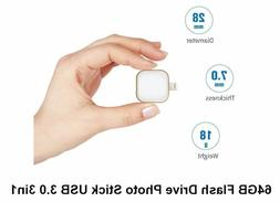 64GB OTG USB 3.0 Flash Drive 3 in1 for iPhone, Android, PC a