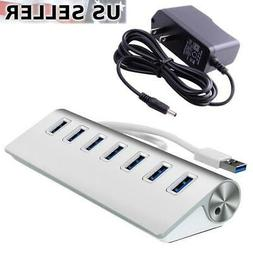 7-Port Aluminum USB 3.0 Hub + 5V/2A Power Adapter for PC Lap