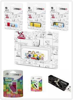 Emtec 8GB USB Flash Drive Memory Batman / Snoopy / Family /
