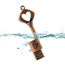 CHUYI Vintage Heart Key 16GB USB 2.0 Flash Drive Metal Pen D