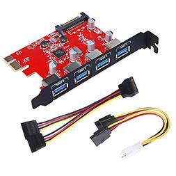 Inateck Superspeed 4 Ports PCI-E to USB 3.0 Expansion Card -