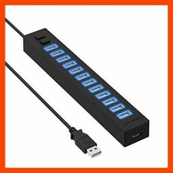 Sabrent 13 Port High Speed USB 2.0 Hub with Power Adapter An