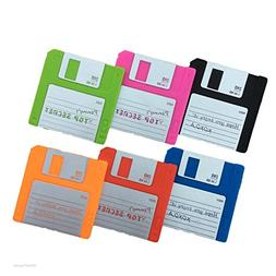 Set of 6 Labelled Retro Floppy Disk Silicone Bar Drink Coast