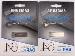 Samsung BAR Plus 64GB 200MB/s USB 3.1 Flash Drive Silver/Gra