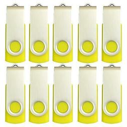 Enfain Bulk Small Capacity 128mb Flash Drive 10 Pack Yellow