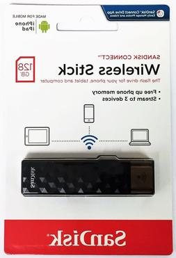 SanDisk 128GB CONNECT Wireless USB 2.0 Stick Wi-Fi Drive Med