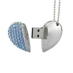 Kootion Crystal Heart Necklace 32GB USB Flash Drive Flash Me