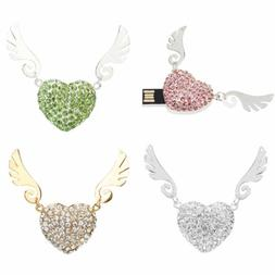 Crystal Heart Necklace USB 2.0 Flash Drive Angel Wings Jewel