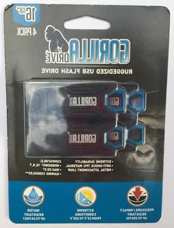 "GORILLA DRIVE 16 GB - 4-Pack "" USB 2.0 "" New Factory-Sealed"