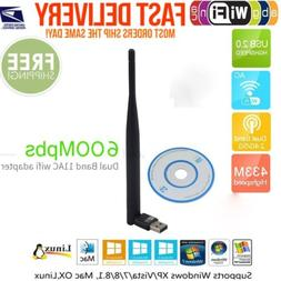 600 Mbps Dual Band 2.4/5Ghz Wireless USB WiFi Network Adapte