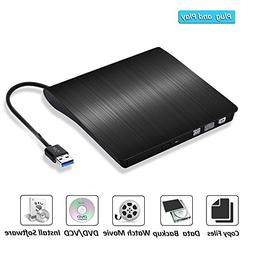 External DVD Drive, Hyfanda USB 3.0 Ultra Slim Portable High