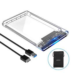 ELUTENG USB3 External Hard Drive Enclosure Clear 2.5 SATA to