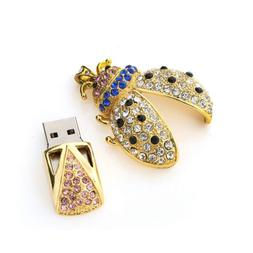 Gold 8GB USB 2.0 Flash Drive Crystal Keychain Heart Thumb Me