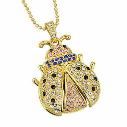 64G Gold Crystals Necklace Jewelry Pendant USB Flash Memory