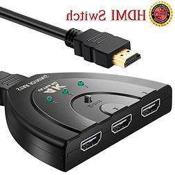 HDMI Switch 3 Port Switch Splitter Hub with Pigtail Cable Su