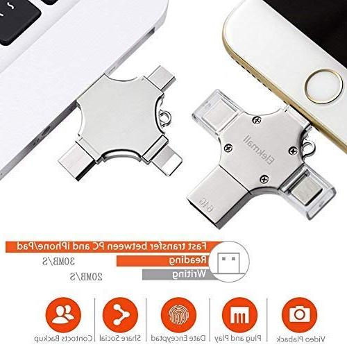 4 in Flash USB Compatible with X Xs iOS Tablet PC Storage USB