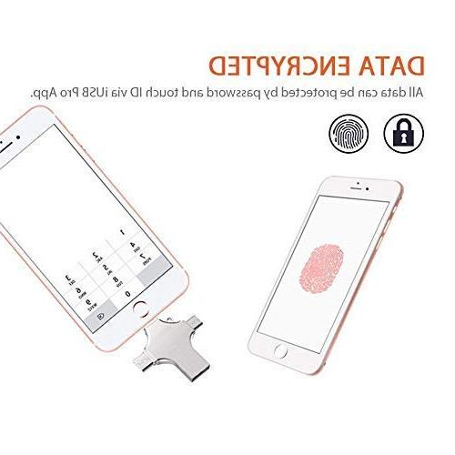 4-in-1 USB Flash 16GB Elekmall Compatible iPhone Tablet Storage with Type C Ports Connector