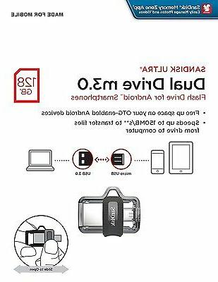 SanDisk 128GB OTG Dual Ultra USB m3.0 Micro Flash Thumb Driv