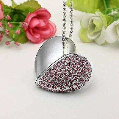 16G USB Memory heart w Crystal Pendant Necklace Drive X1R7