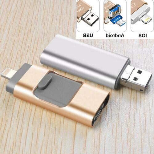 3 IN 1 USB2.0 256GB Memory Stick i-Flash Drive OTG Disk For