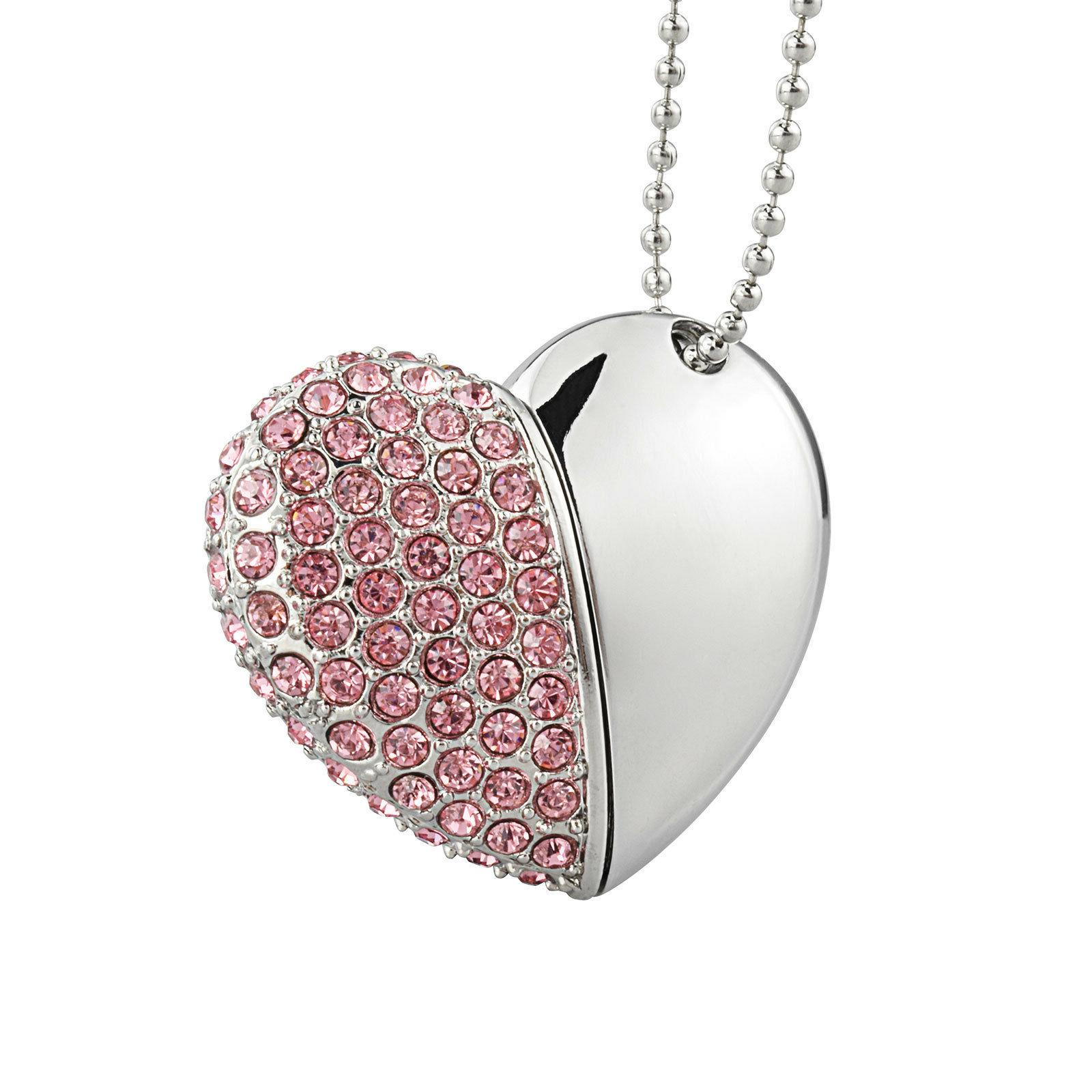 Crystal Heart Memory USB2.0 Flash Drive Disk