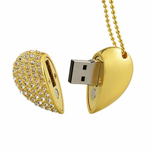 4Pcs Crystal Necklace USB Flash Stick For Gift