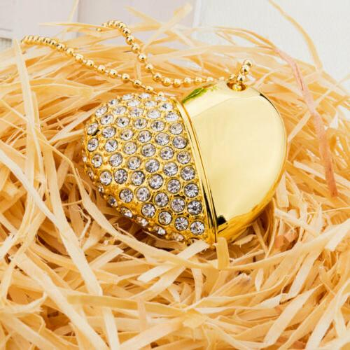 4Pcs Color Crystal Necklace 32GB USB 2.0 Flash Drive For Gift