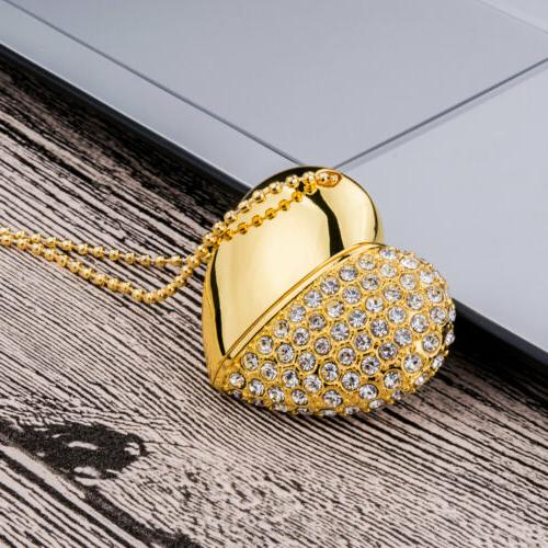 4Pcs Crystal Heart Necklace USB Flash Drive For