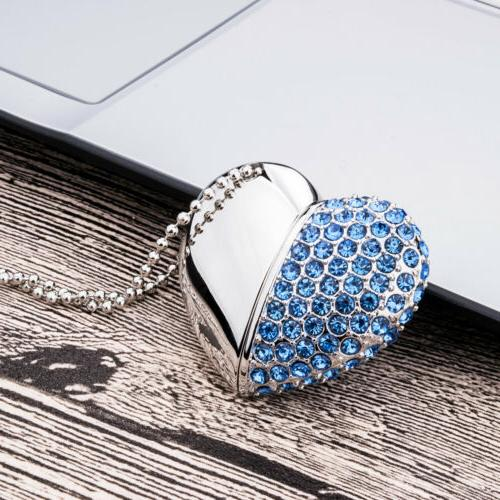 4Pcs Color Heart Necklace Flash Drive For Gift