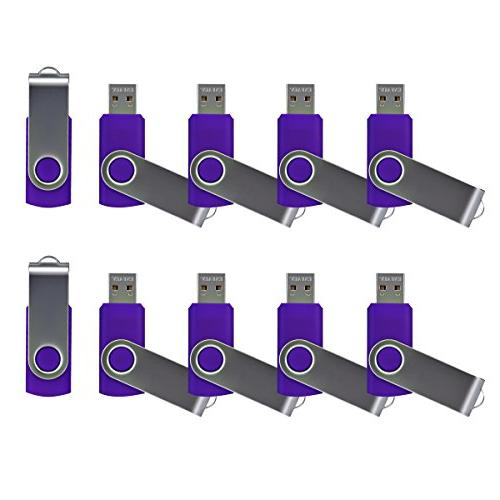 Enfain Bulk Small Capcity 512mb Flash Drive 10 Pack Purple