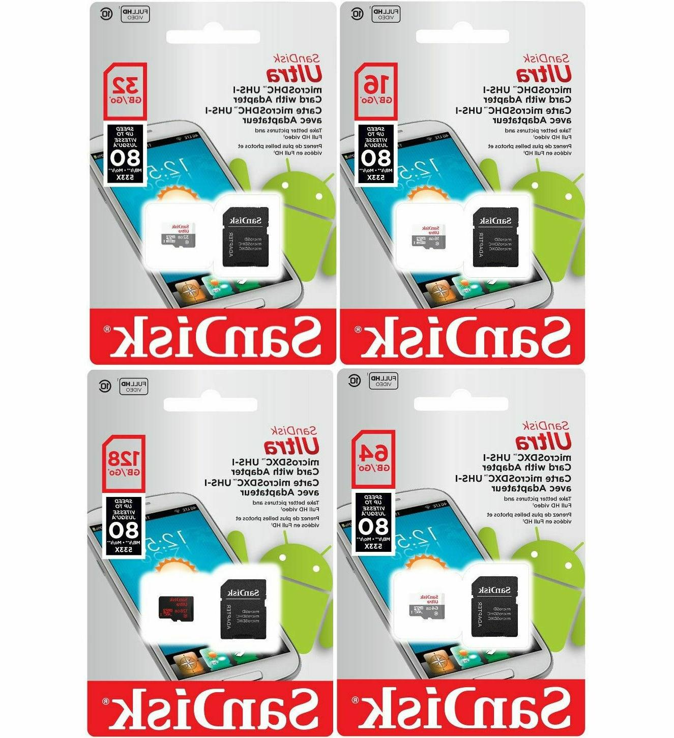 SanDisk 16GB 32GB 64GB 128GB Micro SD Card Class 10 Android