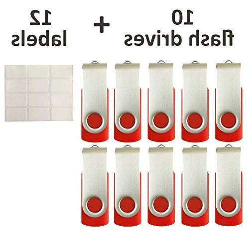 10 SMALL 128 USB Drive Thumb Drives 128MB Red, with LED 12 Removable Labels for Loaded