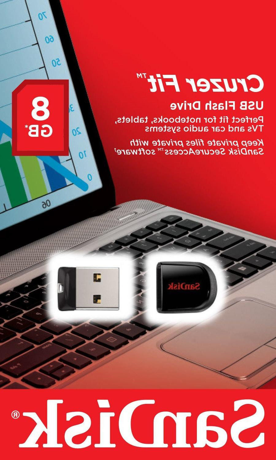 8gb Cruzer Fit Flash Drive Usb 3x5 Inches Non-Retail Packagi