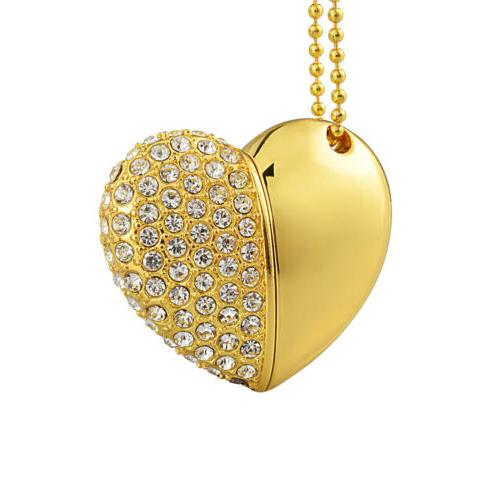 Crystal Heart Necklace U Dish 32G Memory