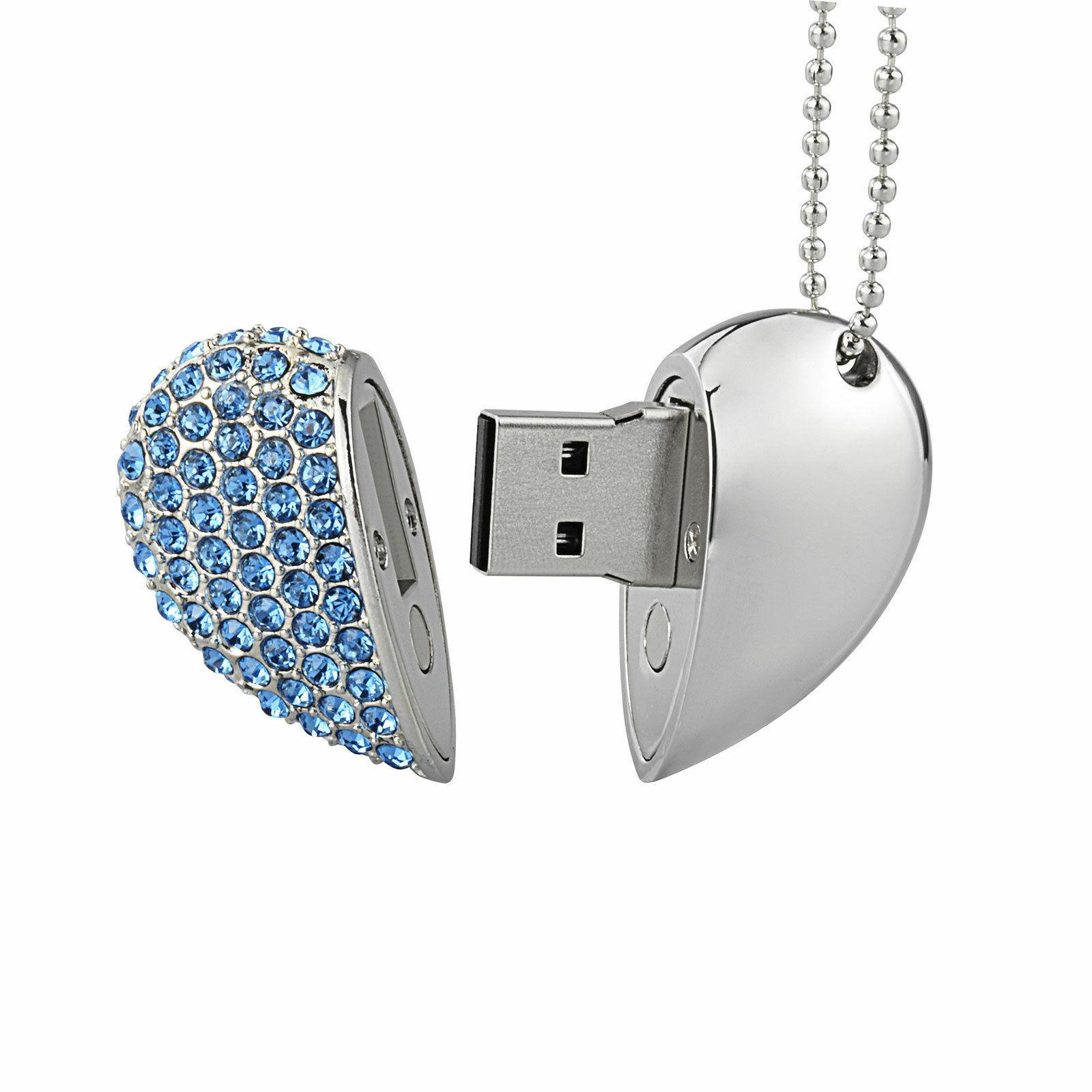 Crystal Love Necklace Memory Flash Storage Disk