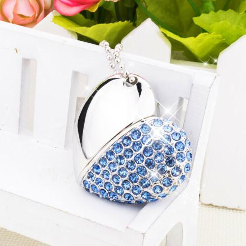 crystal heart necklace 32gb usb 2 0