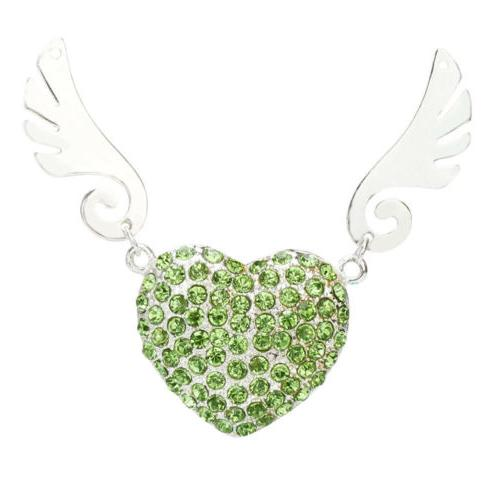 Crystal Heart 2.0 Flash Drive Angel Wings Jewelry Pendrive 64GB 8GB
