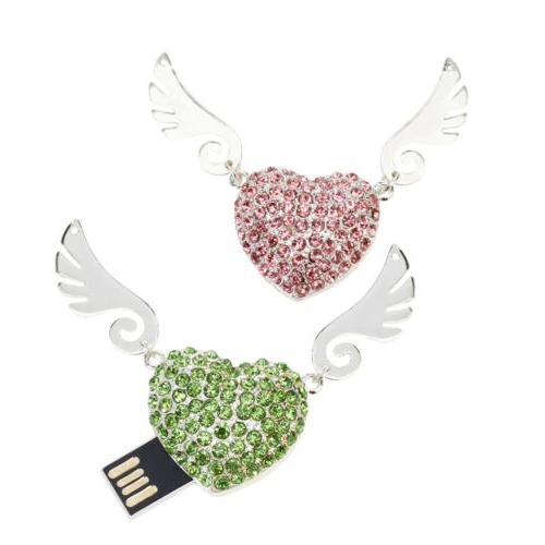 Crystal Heart USB 2.0 Drive Angel Wings Pendrive
