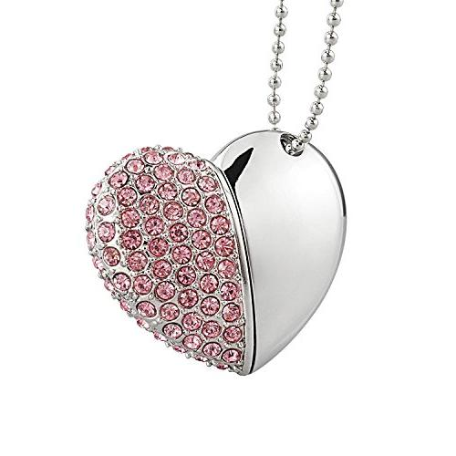 WooTeck 32GB Heart Shape Jewelry USB Flash Necklace,Pink
