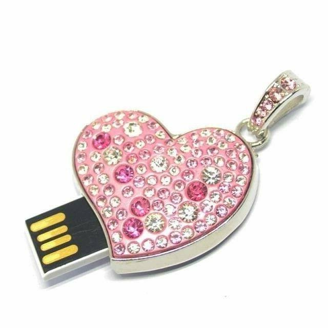 Fashion metal crystal heart pendant necklace usb 2.0 flash d